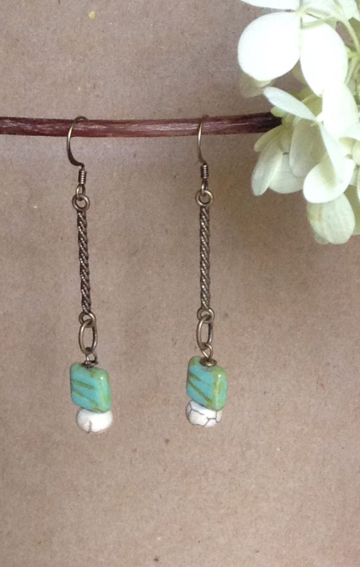 Dangle Earrings...Turquoise Earrings...Handmade Earrings... by 1840VintageLnJewelry on Etsy