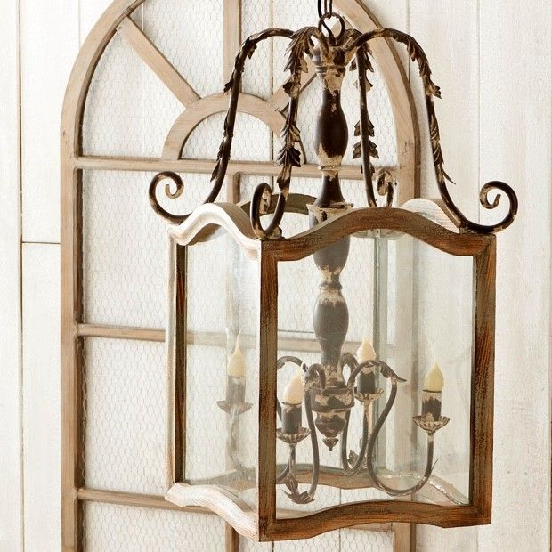 Rustic Wood and Metal Chandelier With Intricate French Country Detail
