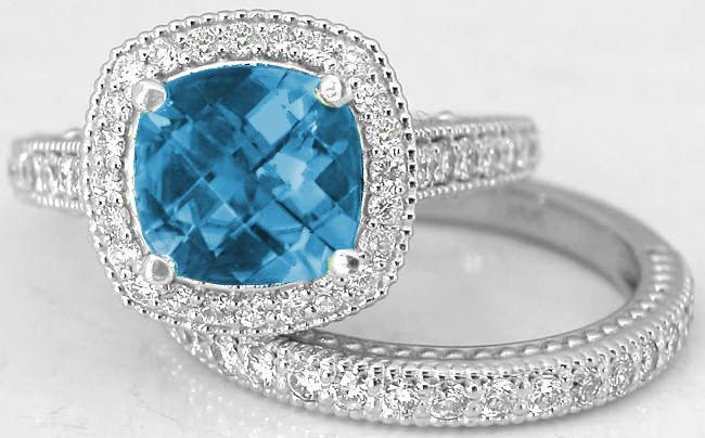 Cushion Cut London Blue Topaz Diamond Engagement Ring and Matching ...