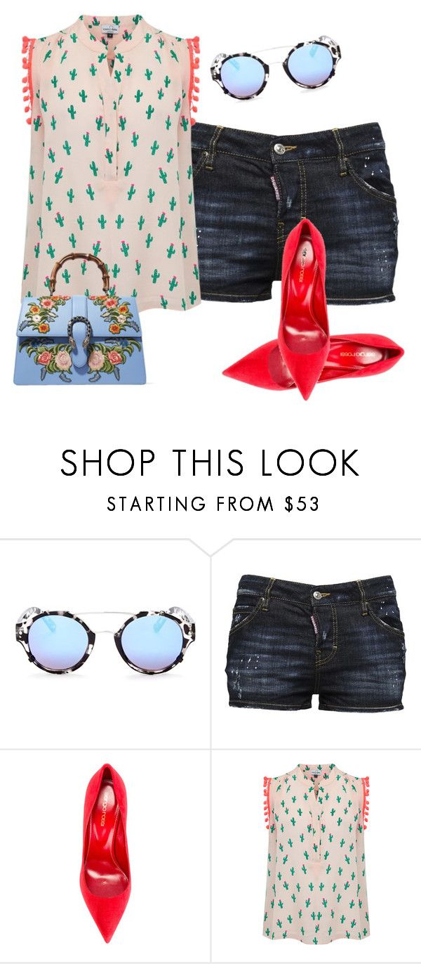 """..."" by gabriela-costa-carneiro ❤ liked on Polyvore featuring Quay, Dsquared2, Sergio Rossi, Mercy Delta and Gucci"
