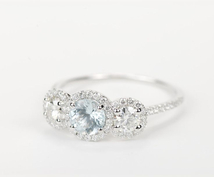 three stone halo engagement rings - Google Search