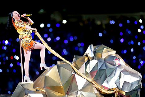 Katy Perry performs onstage during the Pepsi Super Bowl XLIX Halftime Show at University of Phoenix Stadium