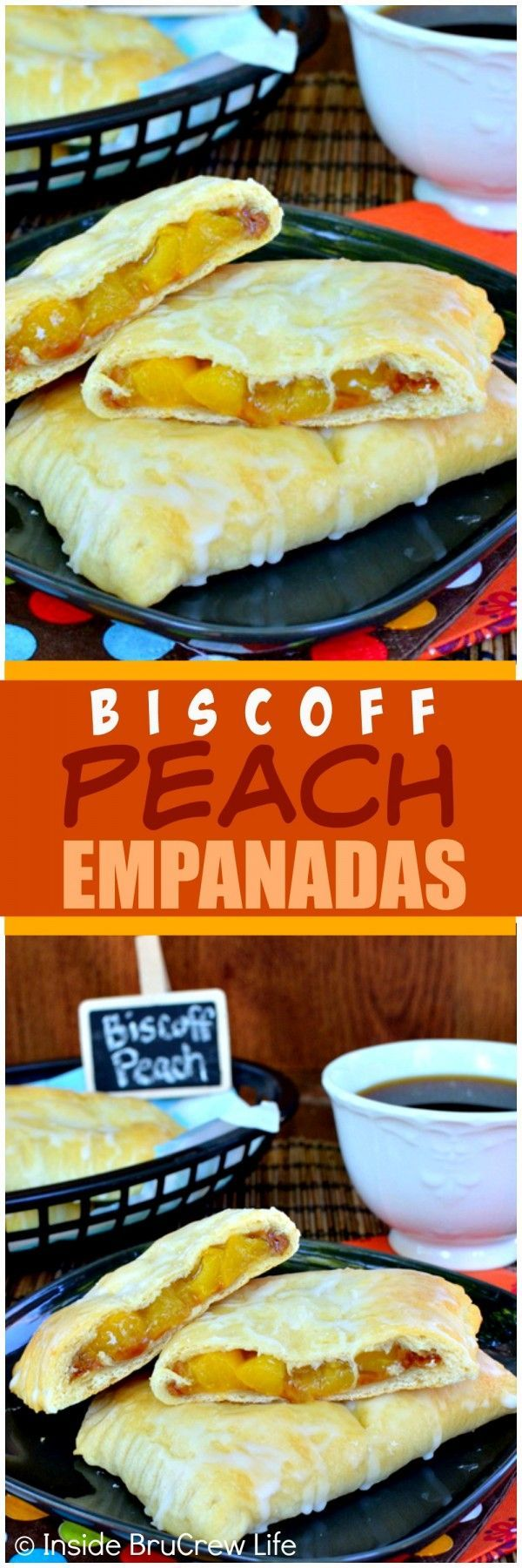 Biscoff Peach Empanadas - easy little pies filled with cookie butter and peach pie filling!  Awesome dessert recipe!