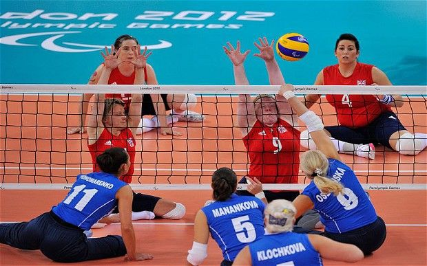 GB's Women Sitting Volleyball team at the Paralympics 2012.