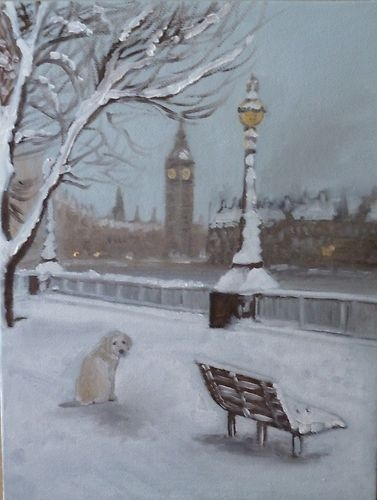 LONDON WINTER SNOW BIGBEN DOG