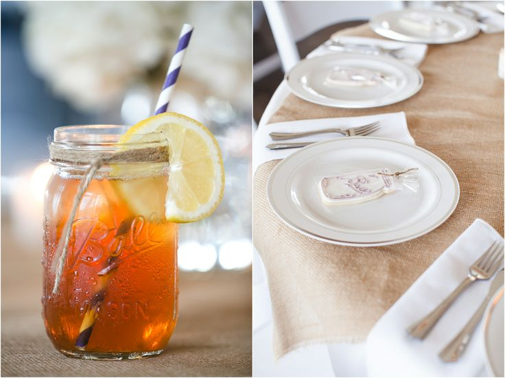 Perfect for a southern wedding: sweet tea in mason jars with a purple straw! Also, some of the cutest mason jar wedding cookies! Click to see all the #DIY details!