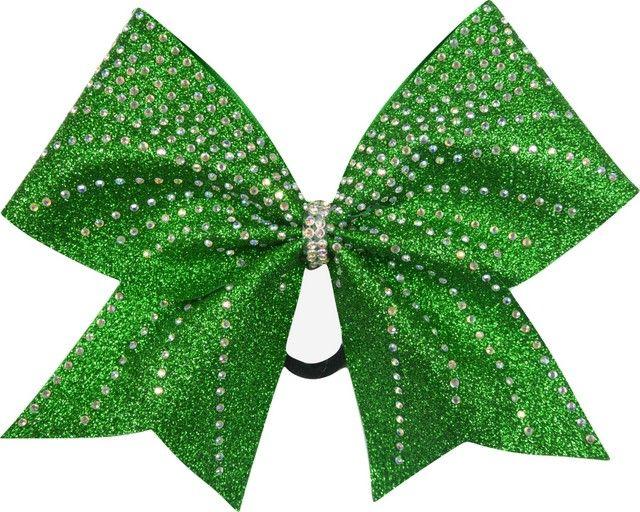 Waves Rhinestone Kelly Green Glitter Cheer Bow Glitter Cheer Bow Cheer Bows Sparkle Bows