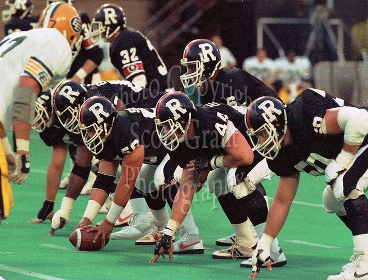 JC Watts, Mike Hameluck, Kevin Powell, Bob Stephen, Ottawa Rough Riders. 1985. Photo F. Scott Grant