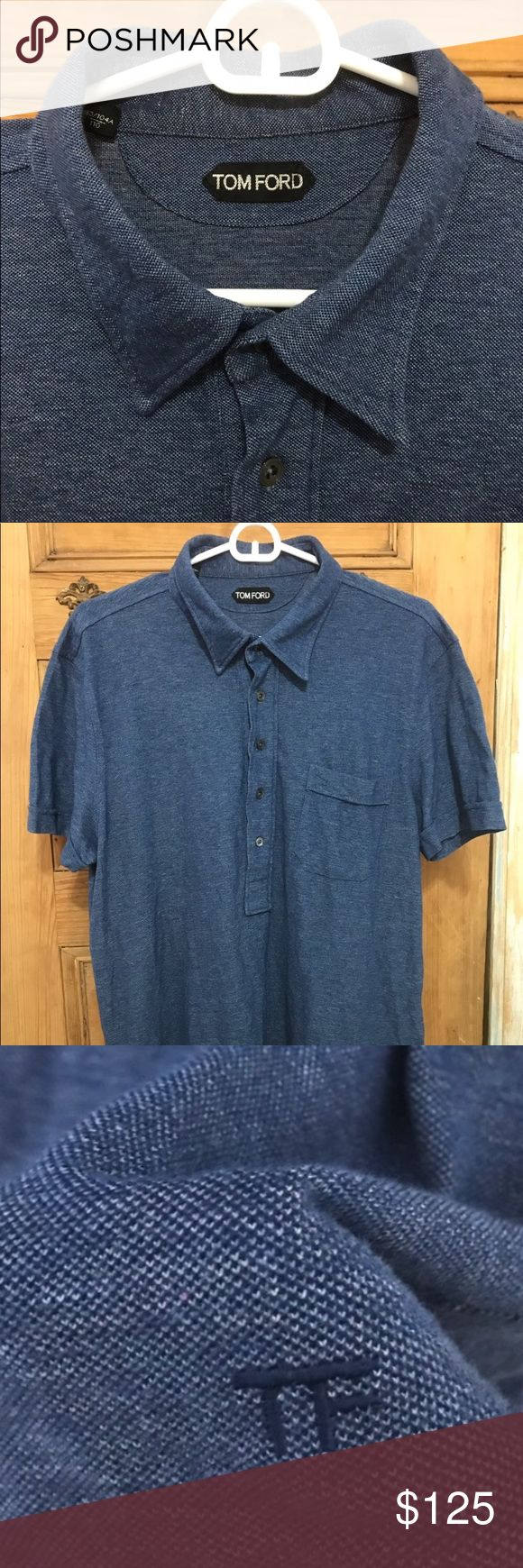 """TOM FORD POLO For sale is a Tom Ford Blue polo shirt. Shirt has 5 buttons that button down to about halfway down the shirt. Shirt is in Italian Size 54 which is about a US size LARGE or slim fit XL. Item is very thick cotton with a """"towelling"""" texture, sleeves are cuffed at the end and there is a small TF (Tom Ford) logo seen at the bottom right-hand corner of the shirt. Item has been used once, and only tried on a few times before purchase. Retails for $790! Tom Ford Shirts Polos"""