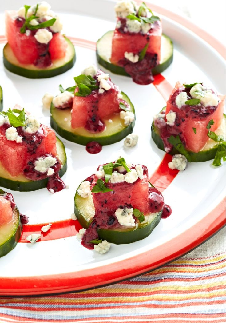 Watermelon Appetizers with Blueberry Dressing – When it comes to fun and refreshing appetizers, sweet and tangy flavors win the day! Slice up the cucumber and watermelon and prepare to wow your party guests.