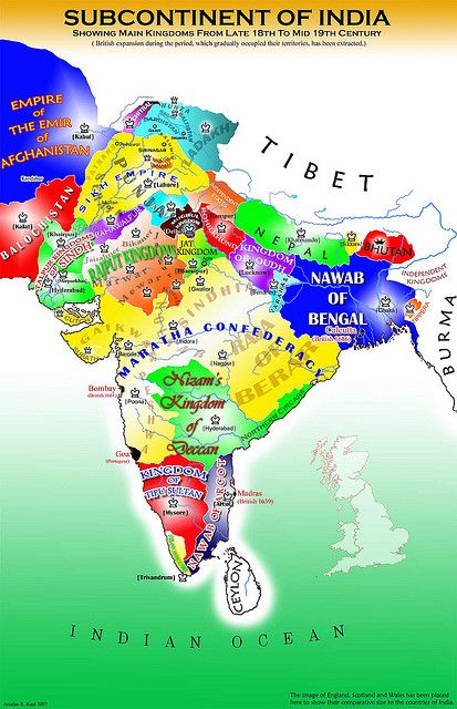 Map of India. Native Kingdoms before the annexation by the British Empire.