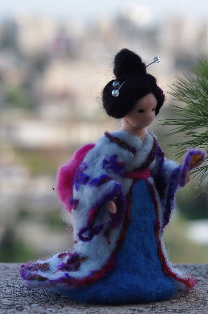 Needle felted Geisha-Waldorf inspired standing doll-soft sculpture