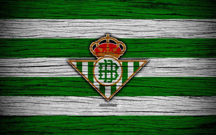 Download wallpapers FC Real Betis, 4k, Spain, LaLiga, wooden texture, soccer, Real Betis, football club, La Liga, Real Betis FC