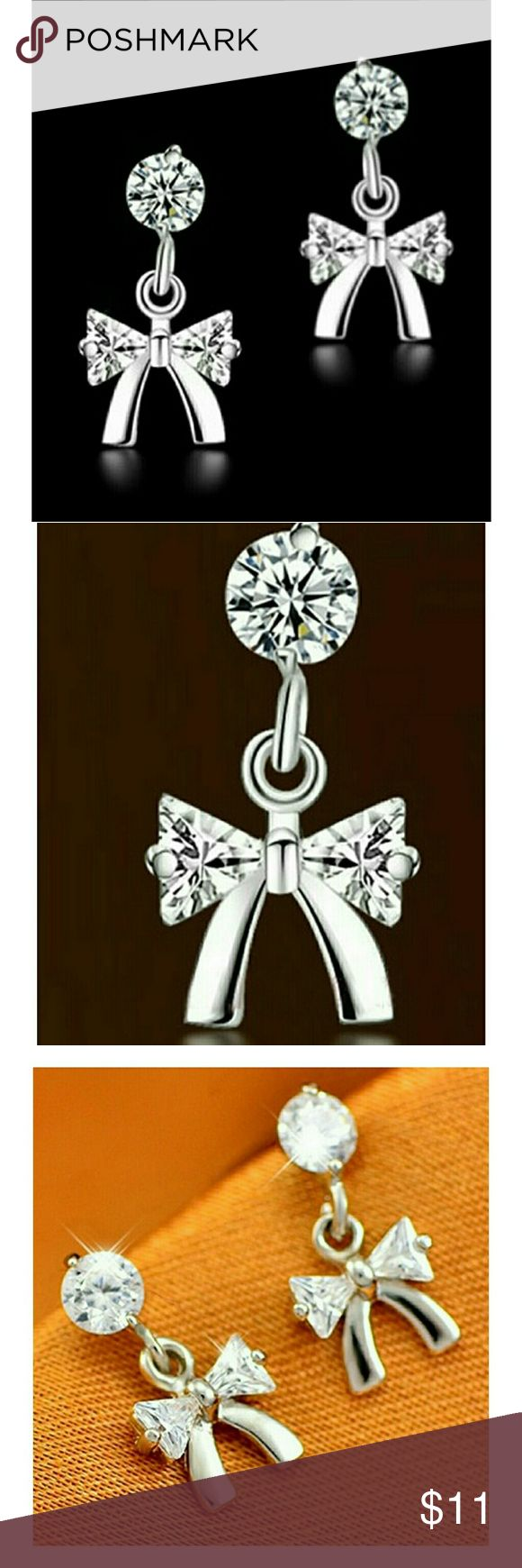 1 Pair 925 Silver & Rhinestone Bow Earrings Boutique