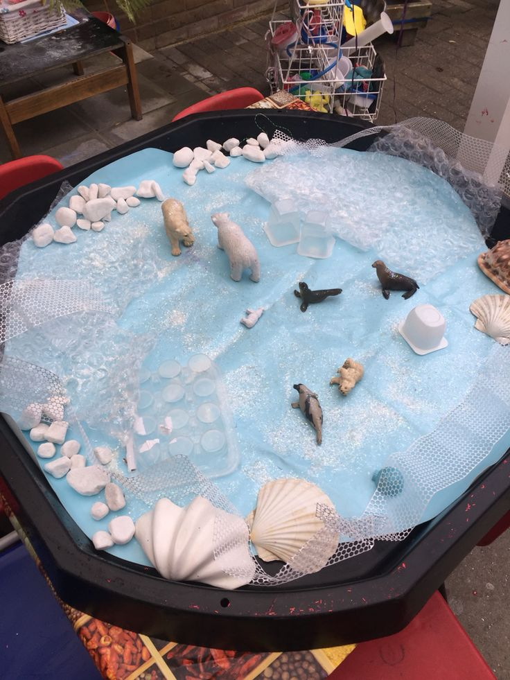 Polar ice Lost and Found topic small world tray eyfs. Will add ice tomorrow and fake snow em