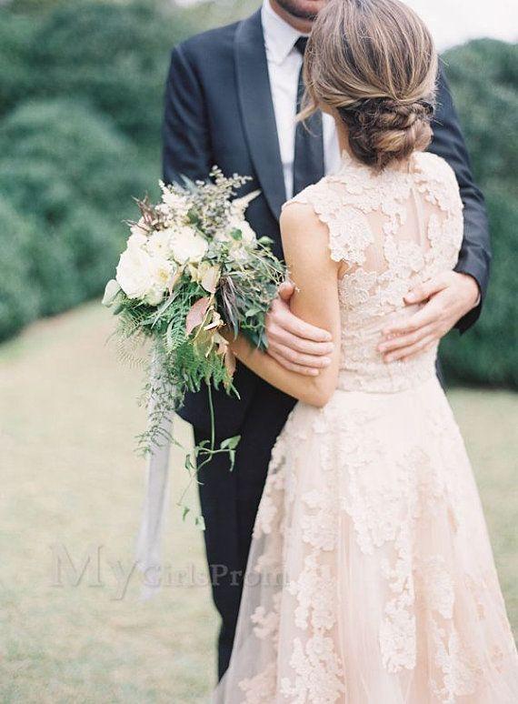 Custom Made V neckline Lace Wedding Dresses Bridal by mygirlsprom