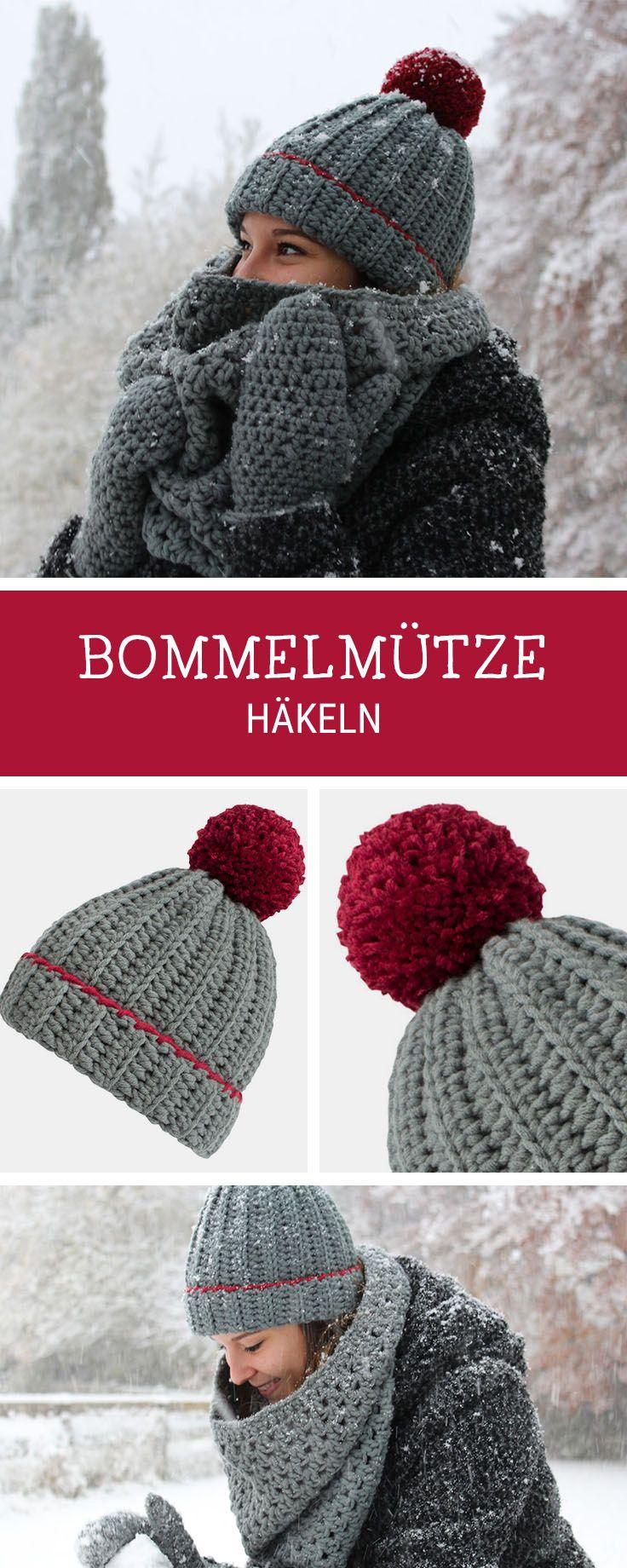 Häkelanleitung für eine kuschelige Mütze mit großer XXL Bommel / crocheting pattern for winterly beanie with pompom via DaWanda.com