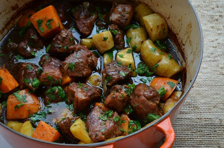Pork Stew with Balsamic and Beer — Three Many Cooks:  next time I'd make this with no brown sugar and a little more beer!