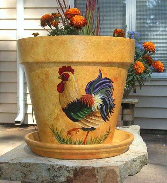 Painted Terracotta Flower Pot / Chicken by SmallTownTraditions, $50.00