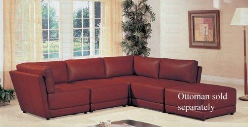 "Sectional Sofa Button Tufted Design Red Bonded Leather by Coaster Home Furnishings. $979.18. Sectional Sofa ButtonTufted Design Red Bonded Leather. Sofas and Sets. Some assembly may be required. Please see product details.. Sofas and Sets->Sofa Sets->Modern and Contemporary Leather Sofa Sets. You will receive a total of 2 armless sofa chairs and 2 corner sofa chairs. Armless Sofa Chairs: 32""L x 38""D x 31 1/2""H Corner Sofa Chairs: 38""L x 38""D x 31 1/2""H Finish: Red Mat..."
