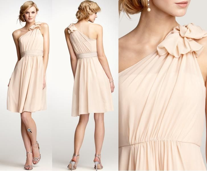 lovely blush bridesmaid dress in chiffon with one sholder gorgeous details