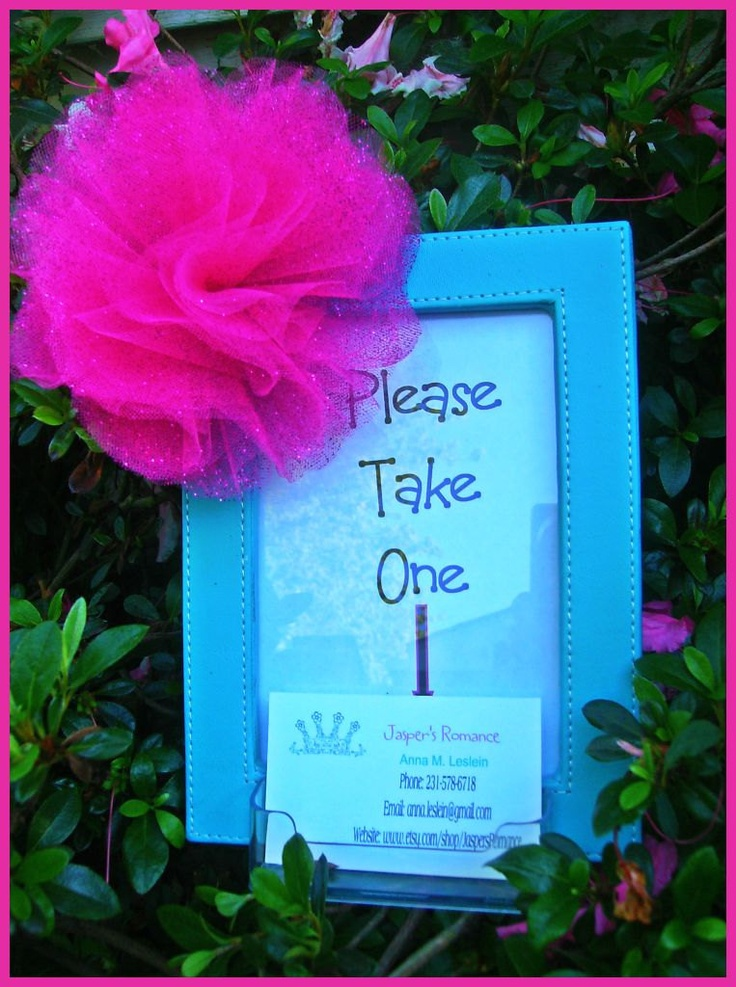Fun Blue and Pink Business Card Holder for Craft Shows or Parties. $8.00, via Etsy.