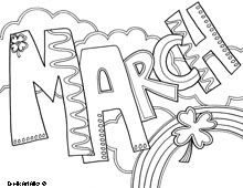 march coloring page - February Coloring Sheets
