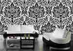 Black & White Damask Wallpaper Mural