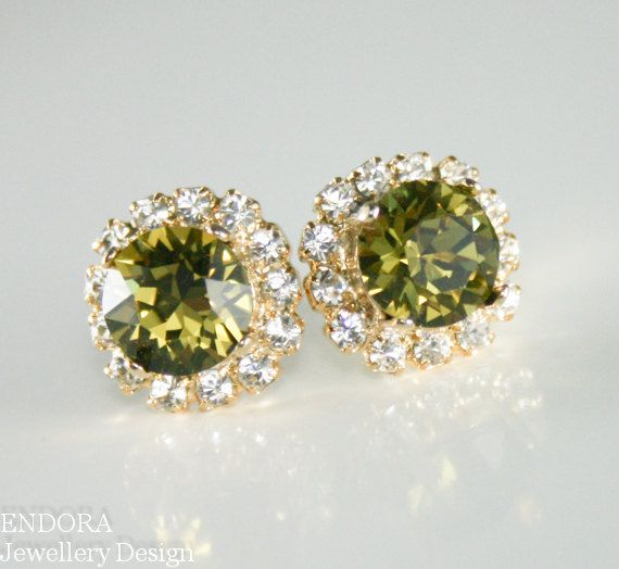 Olive green crystal earringsOlive green by EndoraJewellery on Etsy, $30.00
