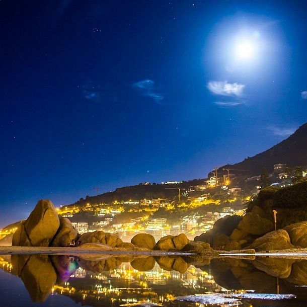 Full moon as seen from Clifton's 4th Beach in Cape Town. #Clifton #fullmoon