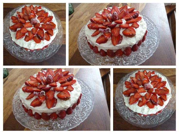 Cake with strawberries, whipped cream and strawberry cream