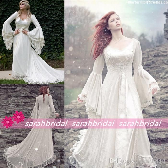Discount Vintage Celtic Gothic Corset Wedding Dresses With: 2019 New Cheap Plus Size Short Sleeves Vintage Medieval