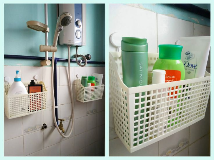 Shower caddies made from command hooks and baskets from Daiso.