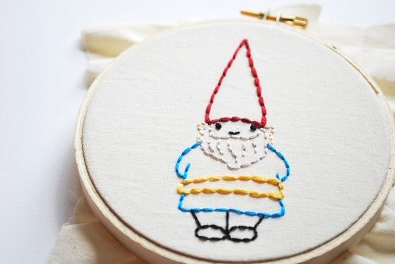 We LOVE gnomes! I need this pattern so I can embroider one of these to go on our wall
