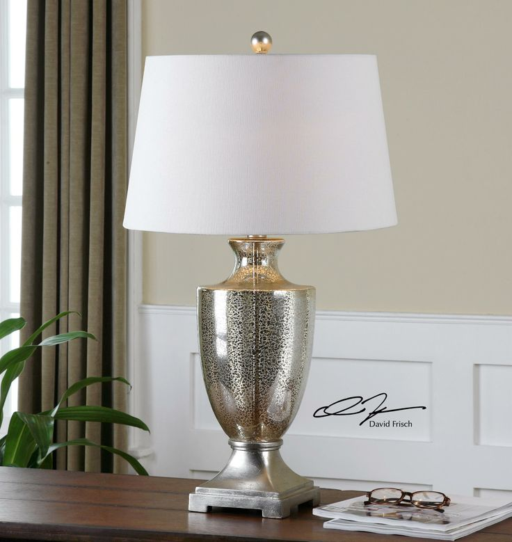 For An Ancient Romanesque Gilded Look This Antonius Table Lamp Features Antiqued Mercury Glass With Silver Details The White Linenshade Tops