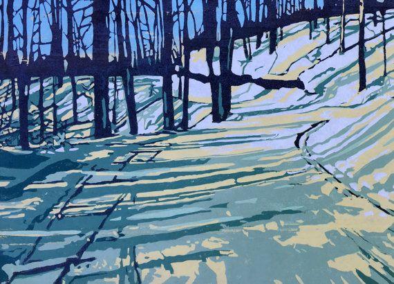 Winter's Walk, large handmade woodblock print