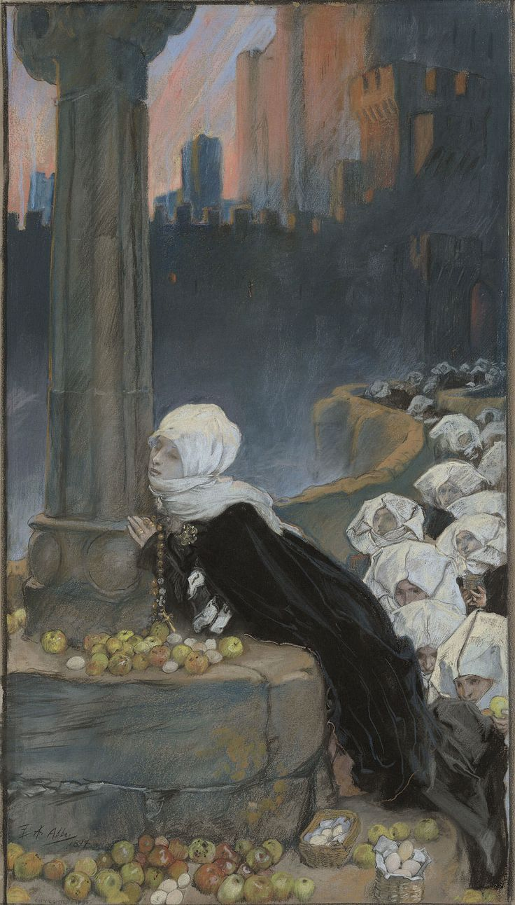 Edwin Austin Abbey: Good Friday Morning, 1894. Yale University Art Gallery, New Haven CT. #pastel #Academicism #Abbey