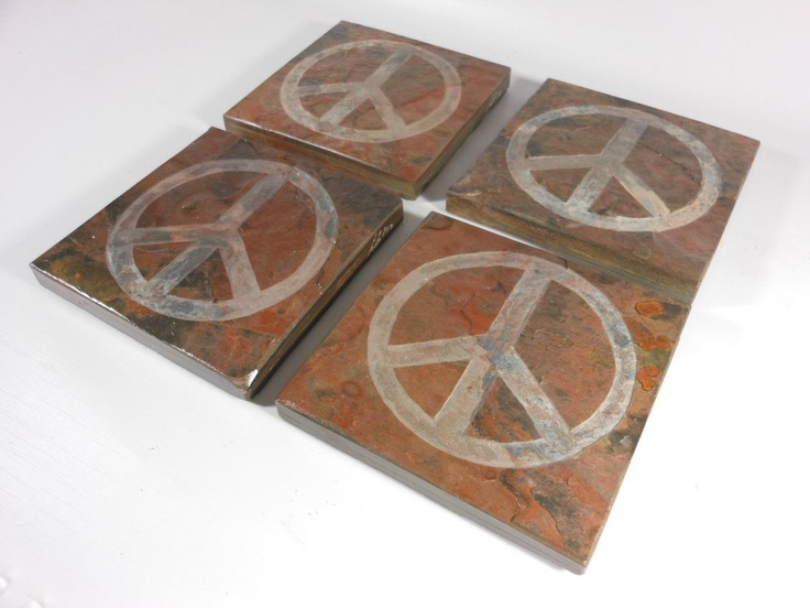 peace sign coasters set carved natural slate stone more cool coasters available - Cool Coasters