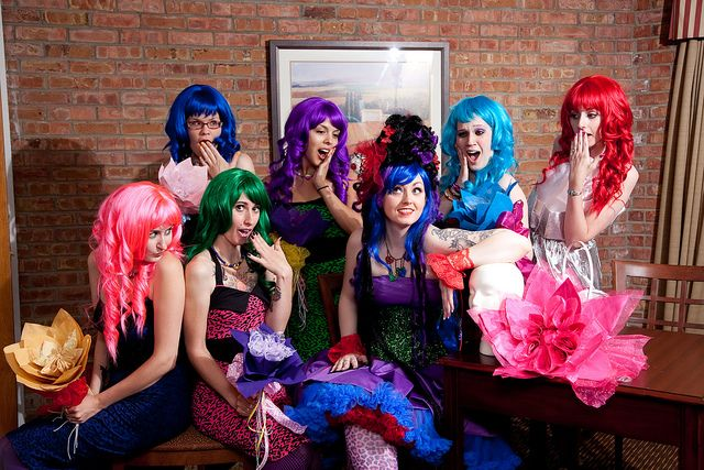 were wearing wigs at my bachelorette party