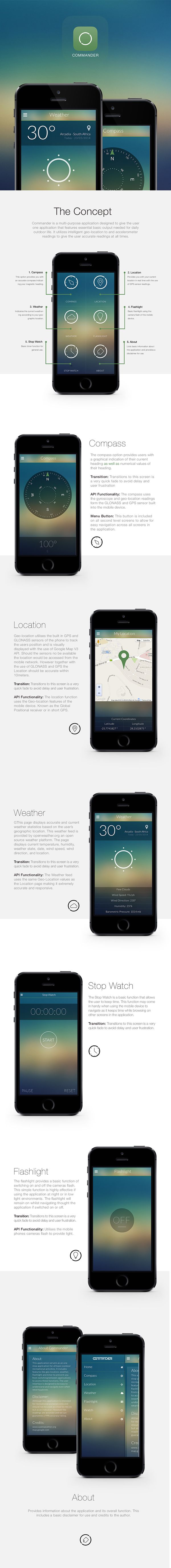 Commander App by Henk Badenhorst, via Behance https://www.behance.net/henk_badenhorst