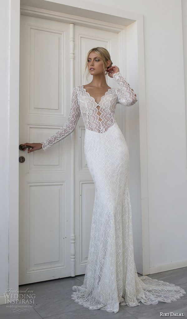riki dalal 2015 valencia wedding dresses beaded long sleeves beaded applique v neckline elegant sheath wedding dress