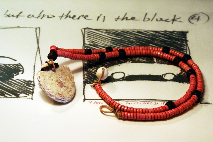 Pebble pendant leather necklace wooden beaded.