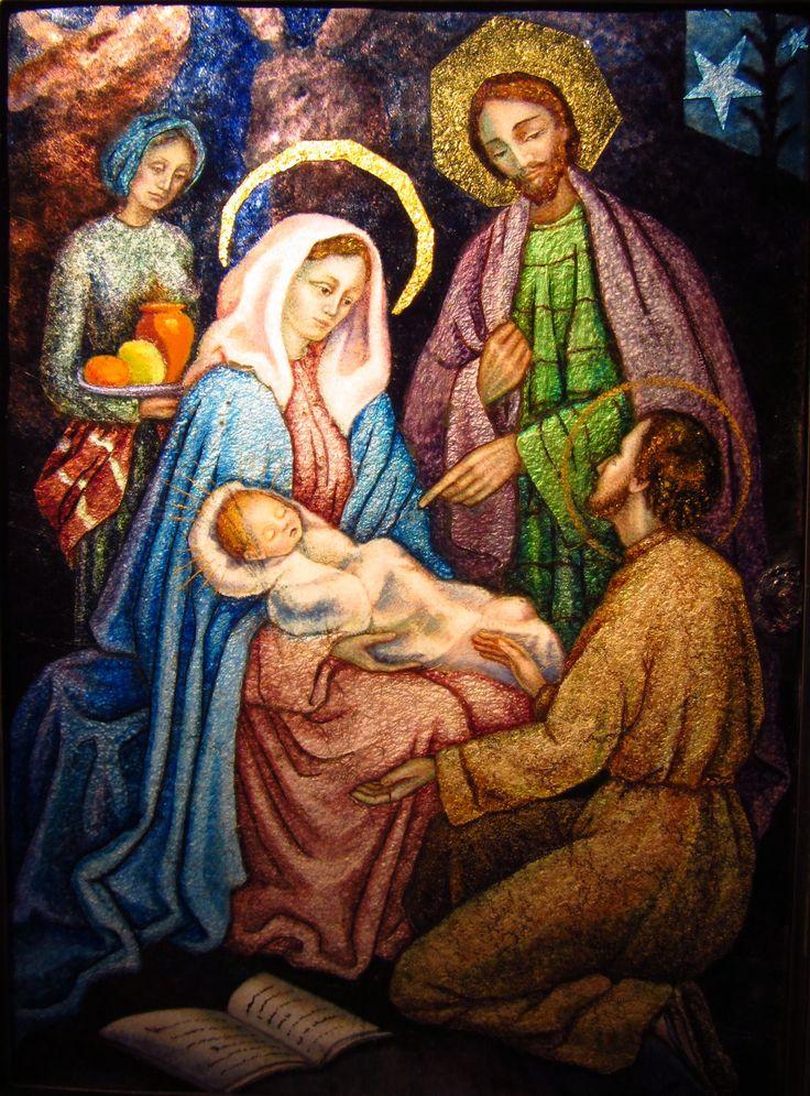 Imagen católica: esmalte,sagrada,familia,san,ignacio,siervo,sierva,nino,jesus,navidad,nacimiento,natividad,adorar,adoracion,maria,jose,belen,manresa,cueva,virgen,misterio - Cathopic