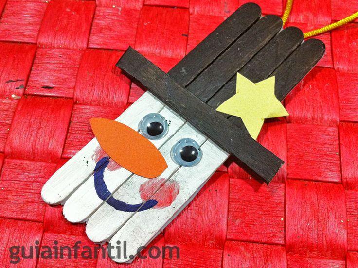 día de Magos Reyes artesanía para niños | Muñeco de nieve. Manualidad con palos de helado