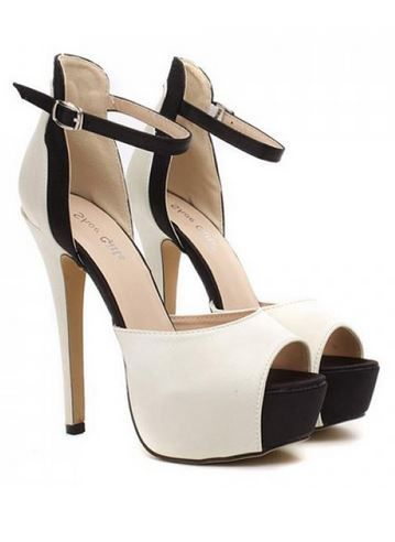 Gorgeous Black and White Color Block Design Women's Open Toe High Heel Sandals #Sexy #High #Heels #Black #White #Stilettos #Black_and_White #Open_Toe #Sandals