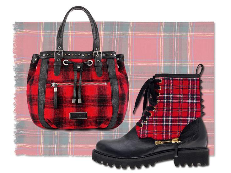 Scarpe e borse in tartan. Lana scozzese su maxi sciarpe, sneakers e pochette. #TartanMania