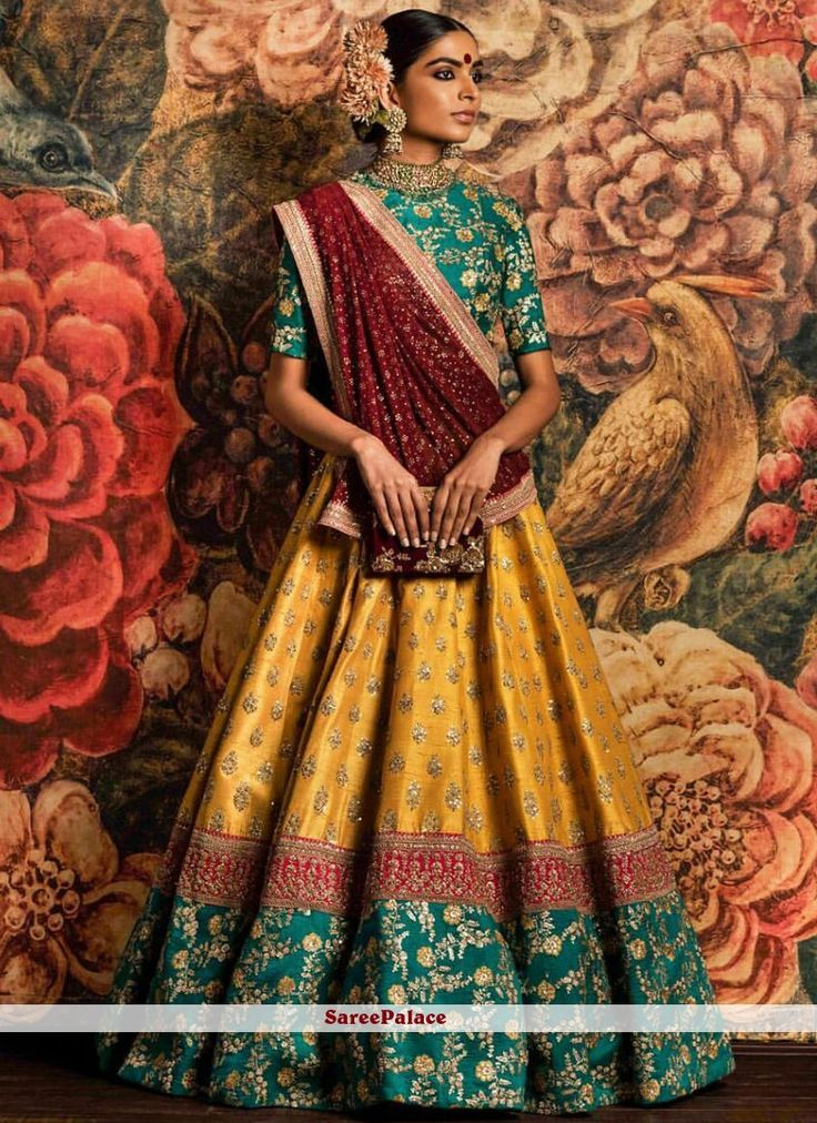 Radiant Embroidered Work Green, Red and Yellow Lehenga Choli