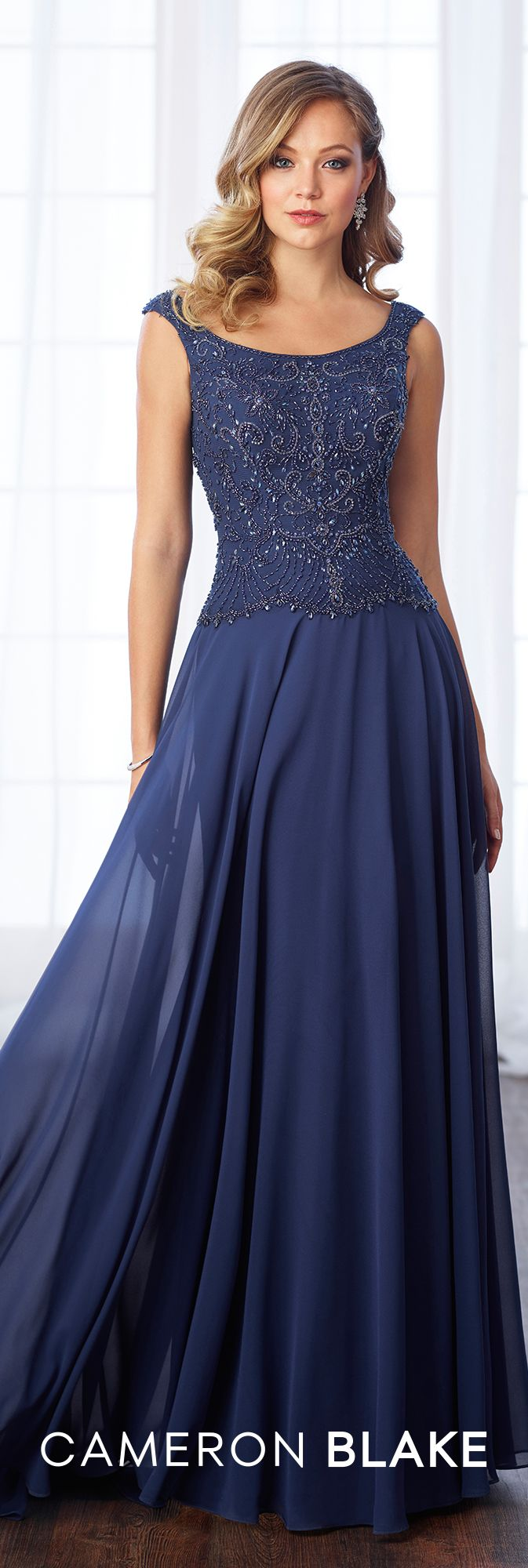 Formal Evening Gowns by Mon Cheri - Fall 2017 - Style No 217635 - navy blue chiffon evening dress with hand beaded bodice and tapered shoulder straps