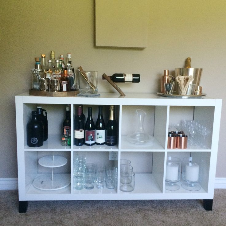 bar area created by using ikea expedit kallax shelving unit - Shelving Units Ideas