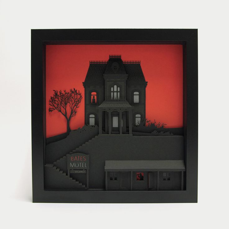"""Psyco - 3d papercut miniature - 175€ - www.thesmallestboy.com/en/shop """" Mother! Oh God! God! Blood! Blood! """"   Three dimensional artwork inspired in Alfred Hitchcock movie """"Psycho"""".  Limited Edition, 100 copies."""